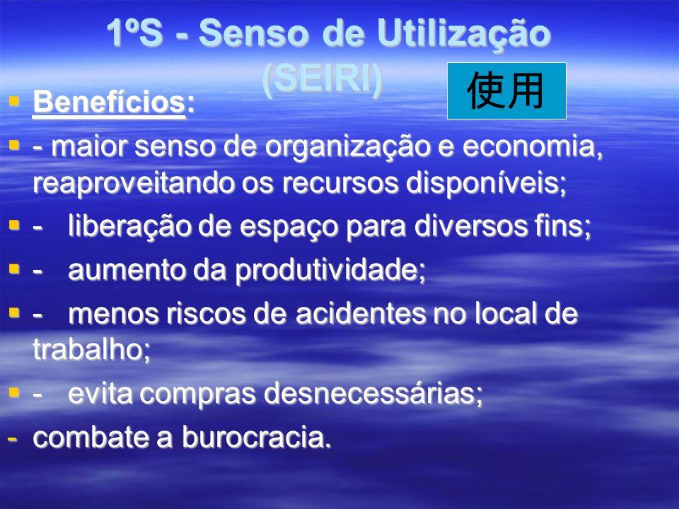1ºS - Senso de Utilização (SEIRI) 1ºS - Senso de Utilização (SEIRI) Benefícios: Benefícios: - maior senso de organização e economia, reaproveitando os recursos disponíveis; - maior senso de organização e economia, reaproveitando os recursos disponíveis; - liberação de espaço para diversos fins; - liberação de espaço para diversos fins; - aumento da produtividade; - aumento da produtividade; - menos riscos de acidentes no local de trabalho; - menos riscos de acidentes no local de trabalho; - evita compras desnecessárias; - evita compras desnecessárias; -combate a burocracia.