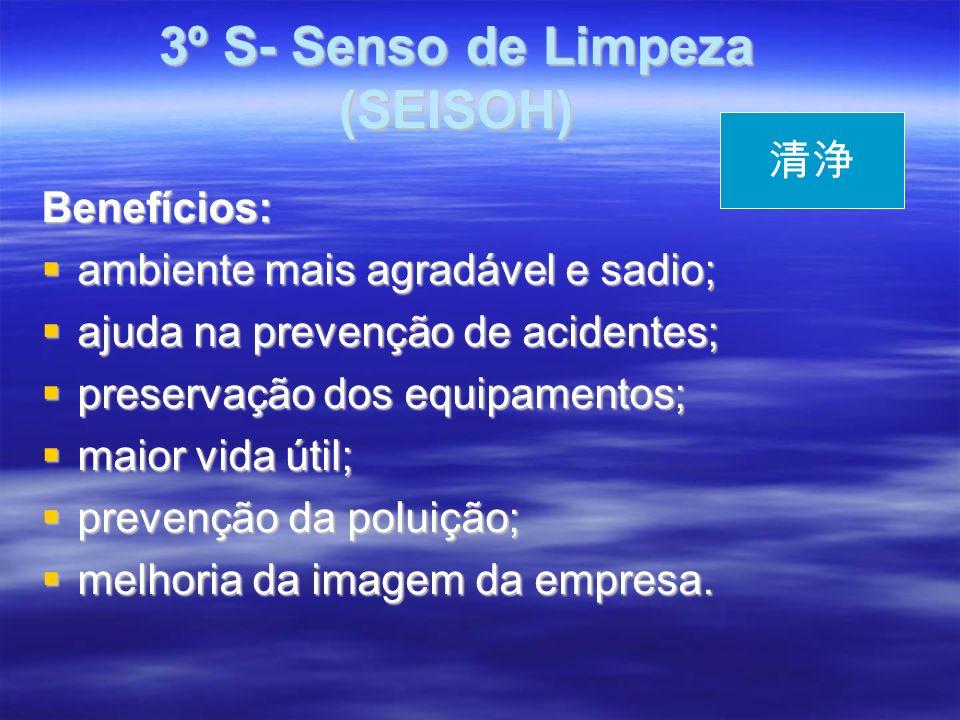 3º S- Senso de Limpeza (SEISOH) 3º S- Senso de Limpeza (SEISOH) Benefícios: ambiente mais agradável e sadio; ambiente mais agradável e sadio; ajuda na prevenção de acidentes; ajuda na prevenção de acidentes; preservação dos equipamentos; preservação dos equipamentos; maior vida útil; maior vida útil; prevenção da poluição; prevenção da poluição; melhoria da imagem da empresa.