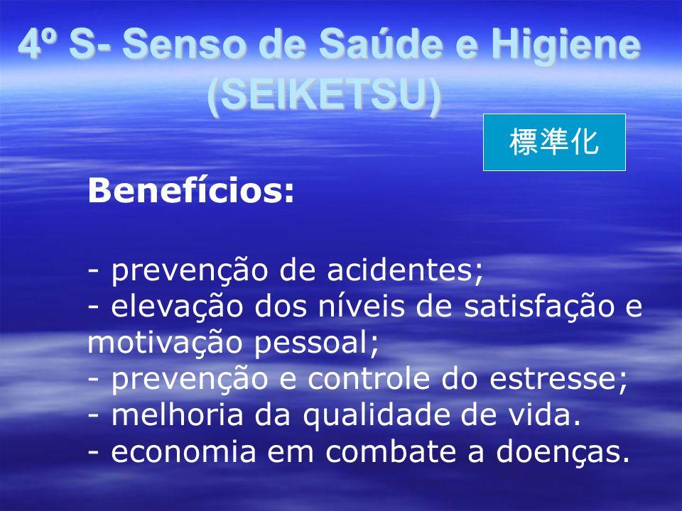 4º S- Senso de Saúde e Higiene (SEIKETSU) 4º S- Senso de Saúde e Higiene (SEIKETSU) Benefícios: - prevenção de acidentes; - elevação dos níveis de satisfação e motivação pessoal; - prevenção e controle do estresse; - melhoria da qualidade de vida.