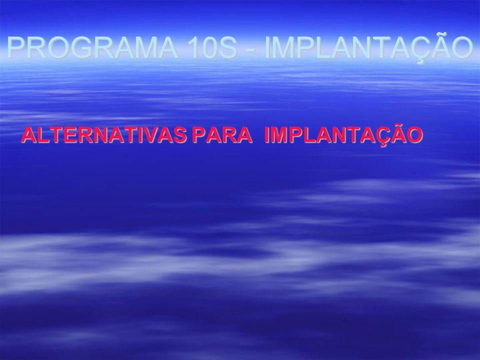 PROGRAMA 10S - IMPLANTAÇÃO ALTERNATIVAS PARA IMPLANTAÇÃO