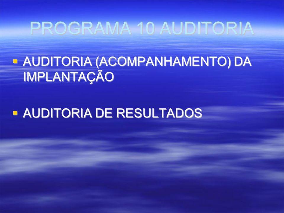 PROGRAMA 10 AUDITORIA AUDITORIA (ACOMPANHAMENTO) DA IMPLANTAÇÃO AUDITORIA (ACOMPANHAMENTO) DA IMPLANTAÇÃO AUDITORIA DE RESULTADOS AUDITORIA DE RESULTADOS