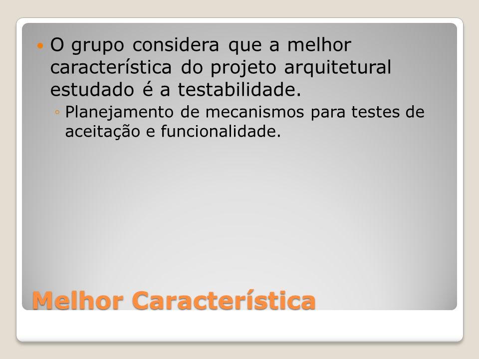 Melhor Característica O grupo considera que a melhor característica do projeto arquitetural estudado é a testabilidade. Planejamento de mecanismos par
