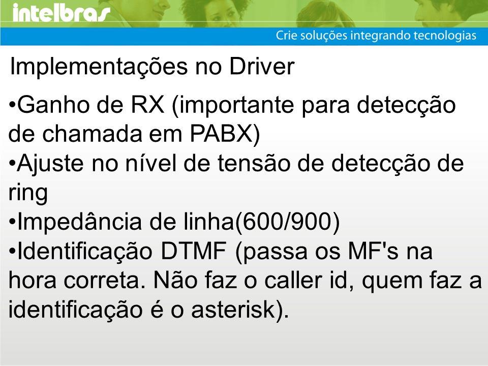 Implementações no Driver Ganho de RX (importante para detecção de chamada em PABX) Ajuste no nível de tensão de detecção de ring Impedância de linha(6