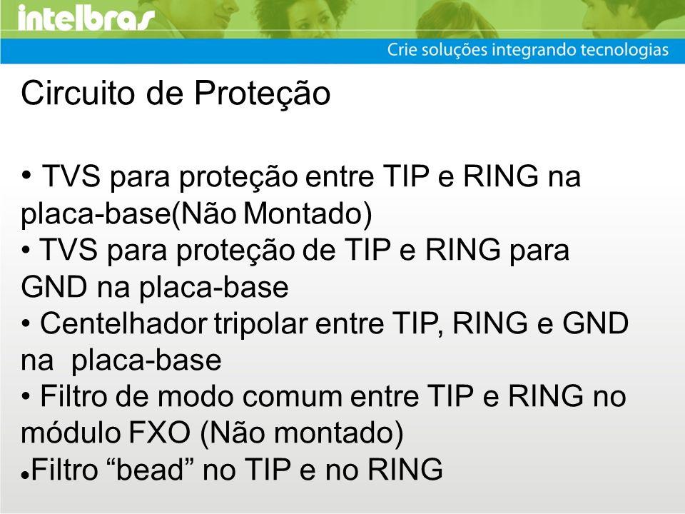 Circuito de Proteção TVS para proteção entre TIP e RING na placa-base(Não Montado) TVS para proteção de TIP e RING para GND na placa-base Centelhador