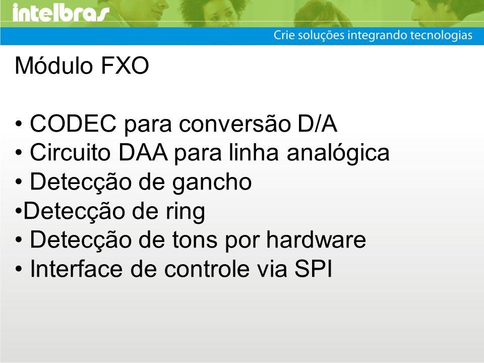Módulo FXO CODEC para conversão D/A Circuito DAA para linha analógica Detecção de gancho Detecção de ring Detecção de tons por hardware Interface de c