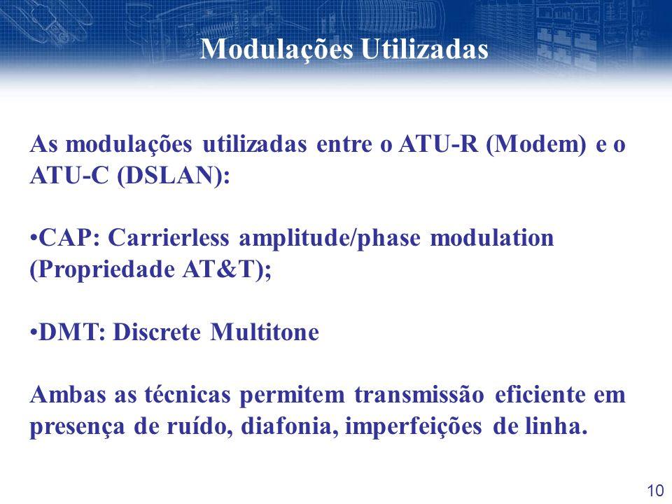 10 Modulações Utilizadas As modulações utilizadas entre o ATU-R (Modem) e o ATU-C (DSLAN): CAP: Carrierless amplitude/phase modulation (Propriedade AT