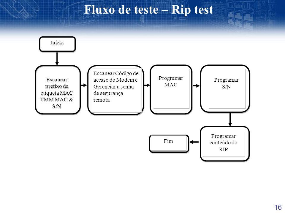 16 Fluxo de teste – Rip test Escanear prefixo da etiqueta MAC TMM MAC & S/N Escanear Código de acesso do Modem e Gerenciar a senha de segurança remota