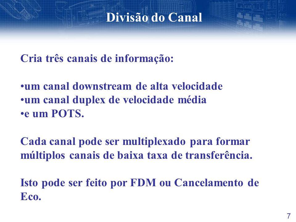 Divisão do Canal 7 Cria três canais de informação: um canal downstream de alta velocidade um canal duplex de velocidade média e um POTS. Cada canal po
