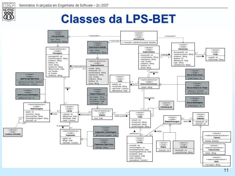 Seminários Avançados em Engenharia de Software – 2o./2007 11 Classes da LPS-BET