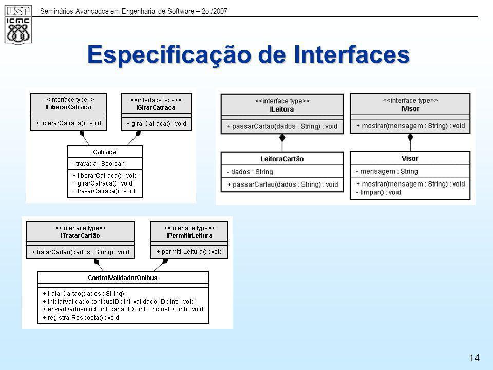 Seminários Avançados em Engenharia de Software – 2o./2007 14 Especificação de Interfaces