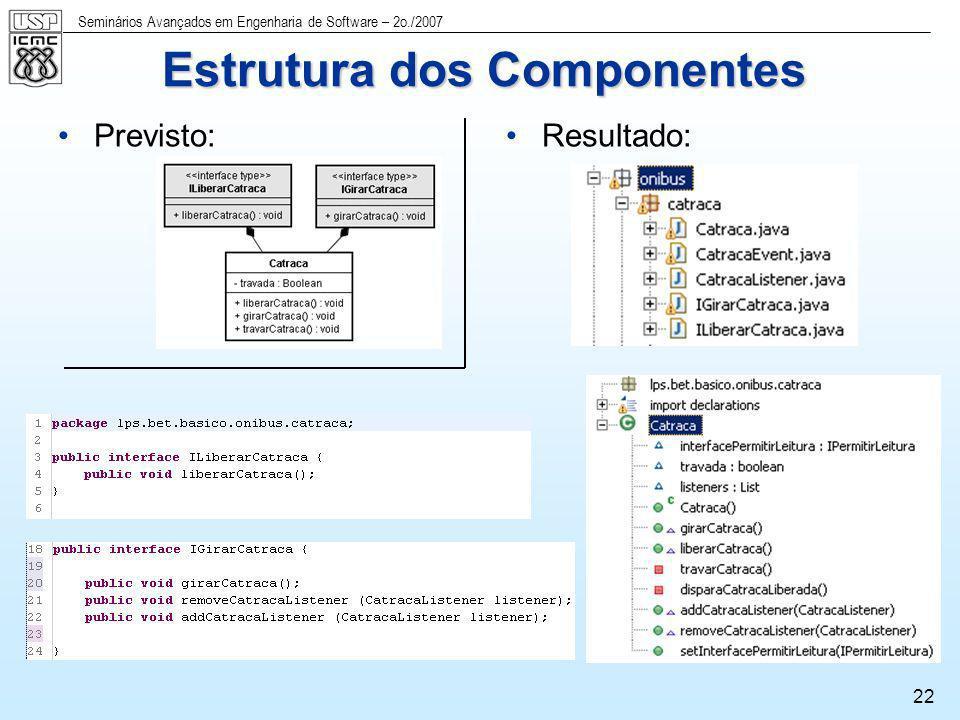Seminários Avançados em Engenharia de Software – 2o./2007 22 Previsto:Resultado: Estrutura dos Componentes