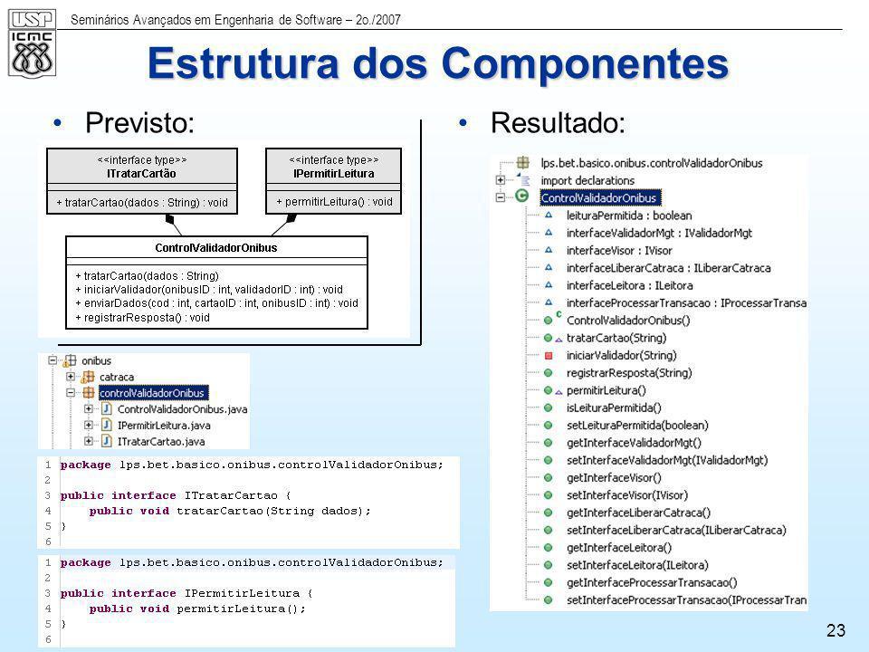 Seminários Avançados em Engenharia de Software – 2o./2007 23 Previsto:Resultado: Estrutura dos Componentes