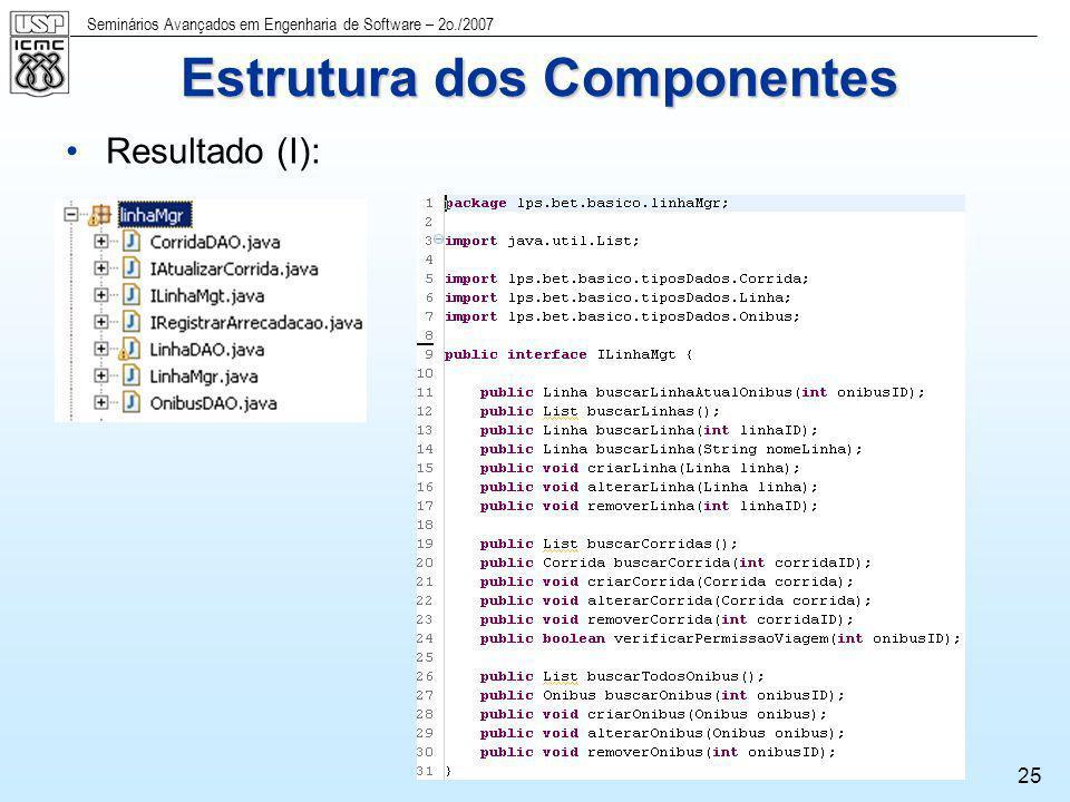 Seminários Avançados em Engenharia de Software – 2o./2007 25 Resultado (I): Estrutura dos Componentes