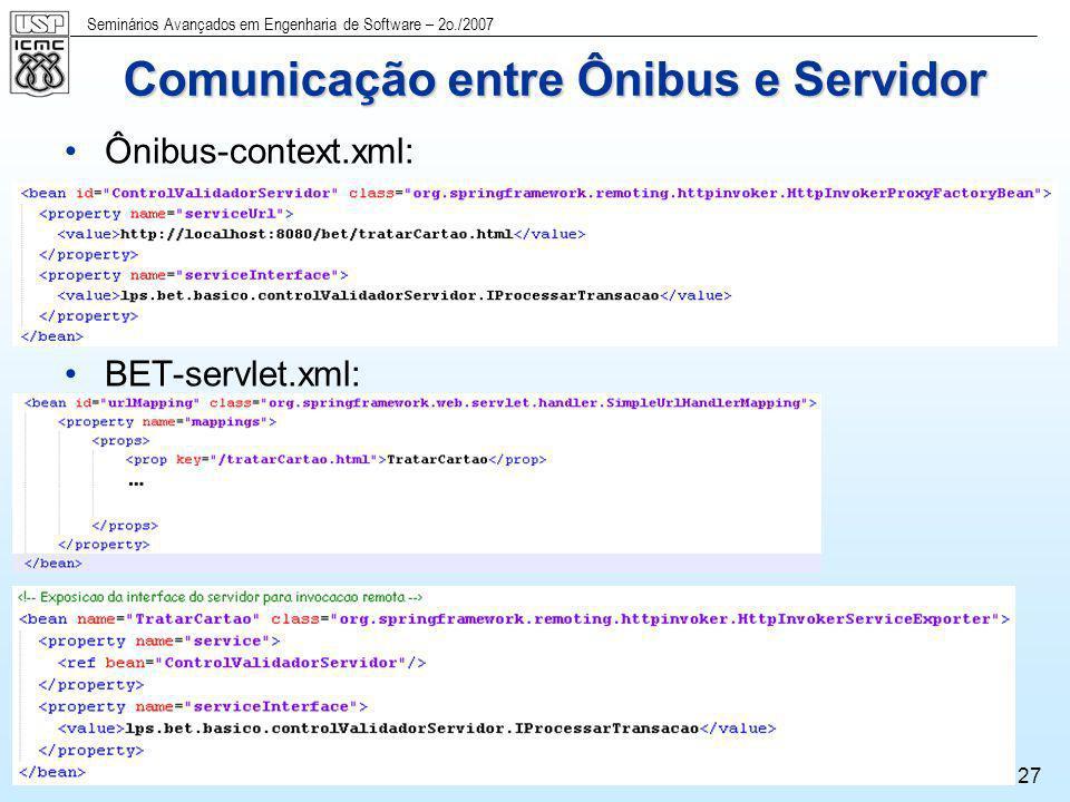 Seminários Avançados em Engenharia de Software – 2o./2007 27 Comunicação entre Ônibus e Servidor Ônibus-context.xml: BET-servlet.xml: