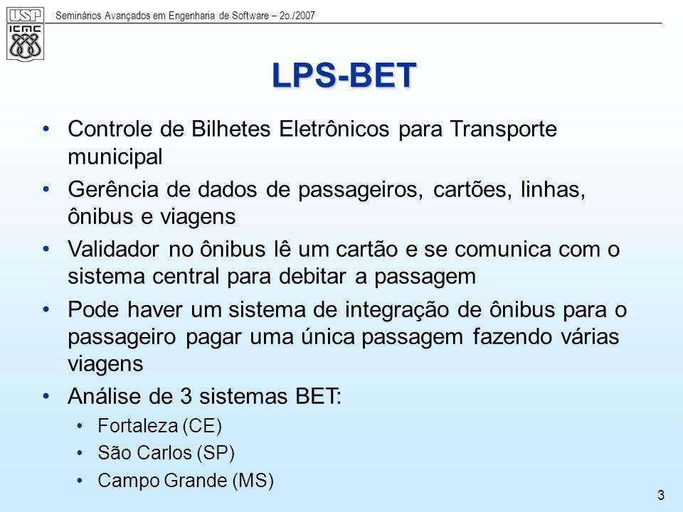 Seminários Avançados em Engenharia de Software – 2o./2007 3 LPS-BET Controle de Bilhetes Eletrônicos para Transporte municipal Gerência de dados de pa