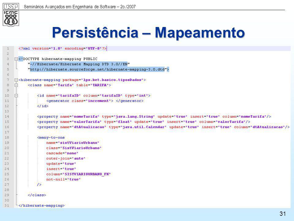 Seminários Avançados em Engenharia de Software – 2o./2007 31 Persistência – Mapeamento