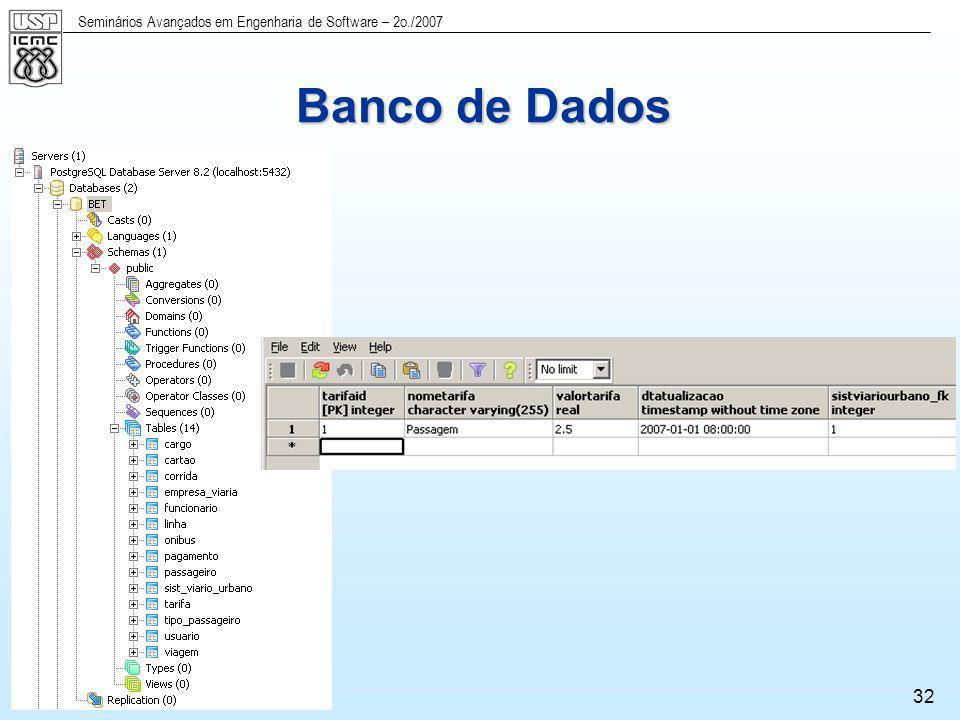 Seminários Avançados em Engenharia de Software – 2o./2007 32 Banco de Dados