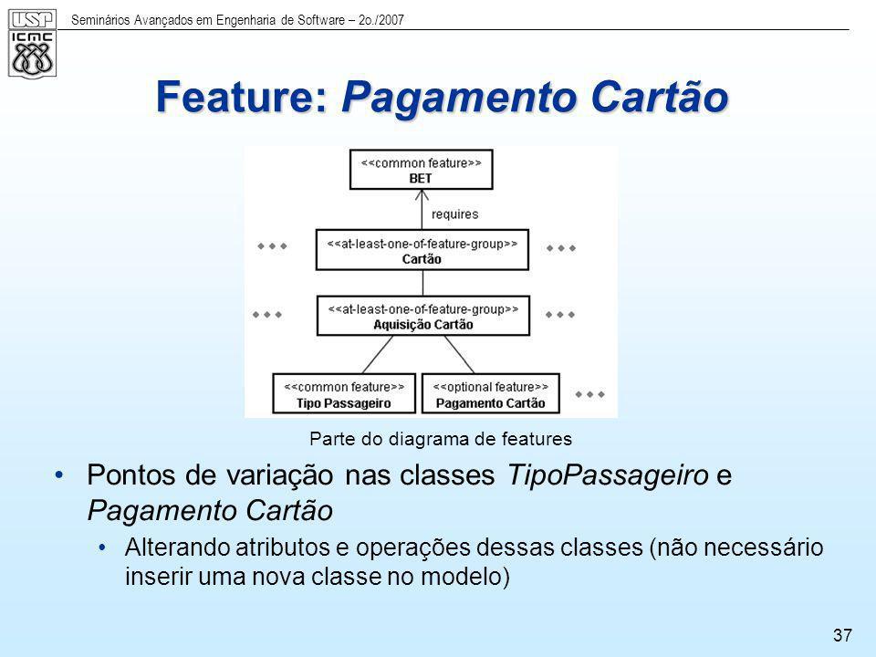 Seminários Avançados em Engenharia de Software – 2o./2007 37 Parte do diagrama de features Pontos de variação nas classes TipoPassageiro e Pagamento C