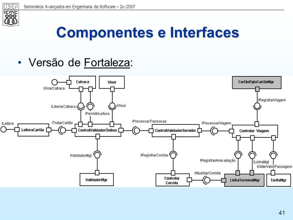 Seminários Avançados em Engenharia de Software – 2o./2007 41 Componentes e Interfaces Versão de Fortaleza: