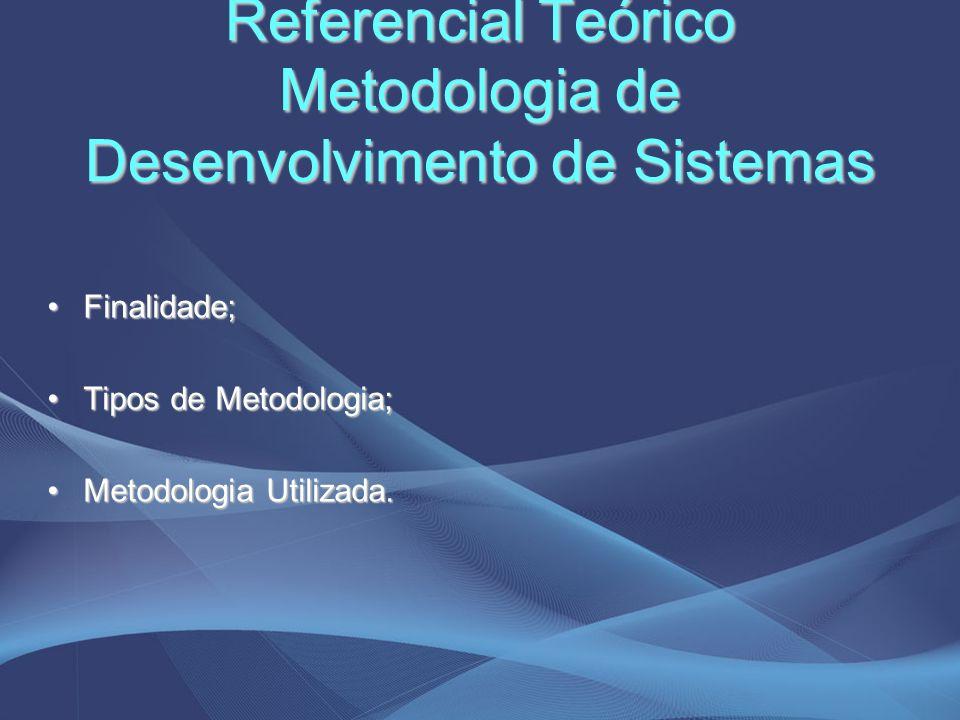 Referencial Teórico Metodologia de Desenvolvimento de Sistemas Finalidade;Finalidade; Tipos de Metodologia;Tipos de Metodologia; Metodologia Utilizada