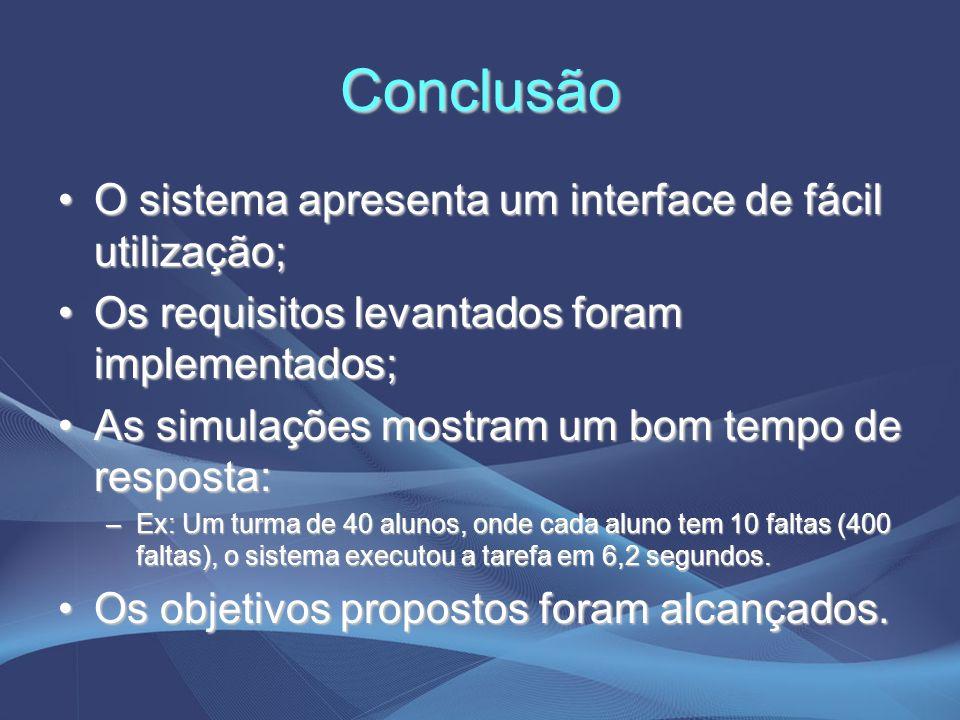 Conclusão O sistema apresenta um interface de fácil utilização;O sistema apresenta um interface de fácil utilização; Os requisitos levantados foram im