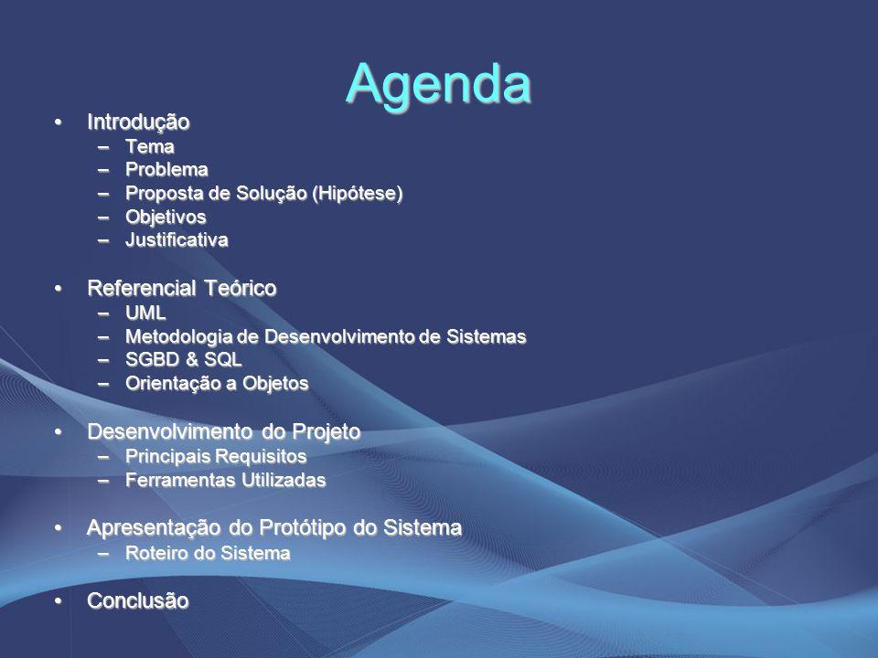 Agenda IntroduçãoIntrodução –Tema –Problema –Proposta de Solução (Hipótese) –Objetivos –Justificativa Referencial TeóricoReferencial Teórico –UML –Met