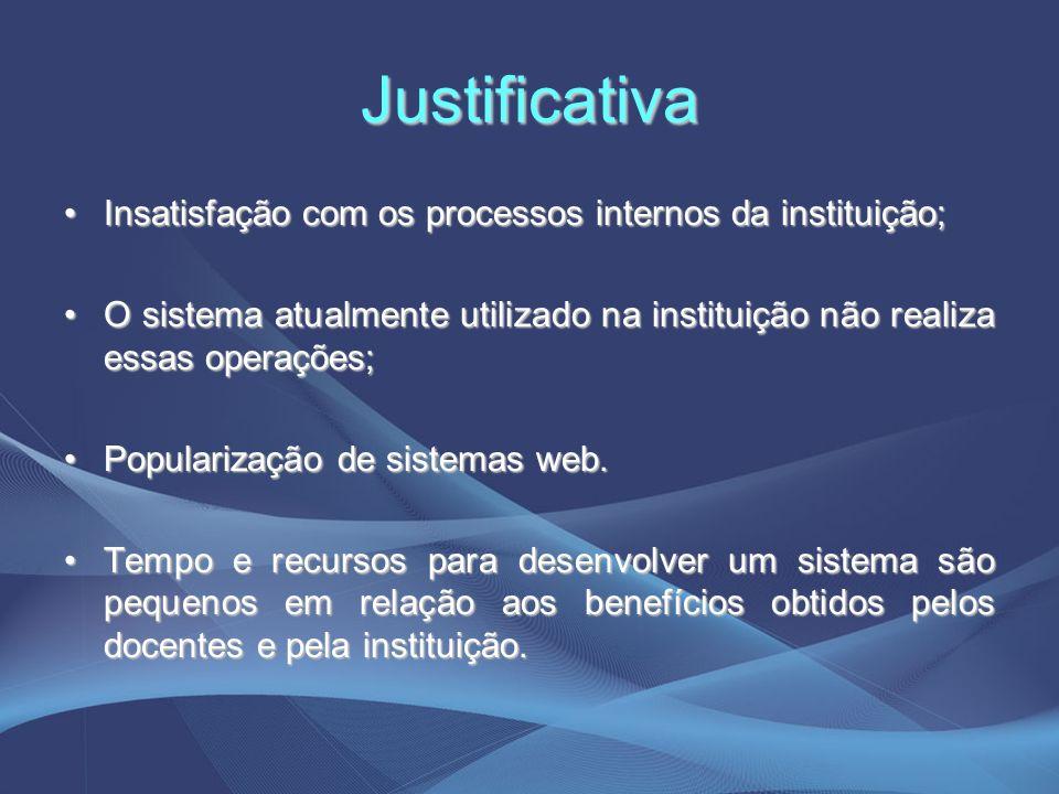 Justificativa Insatisfação com os processos internos da instituição;Insatisfação com os processos internos da instituição; O sistema atualmente utiliz