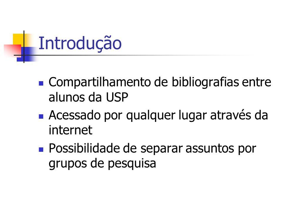 Introdução Compartilhamento de bibliografias entre alunos da USP Acessado por qualquer lugar através da internet Possibilidade de separar assuntos por