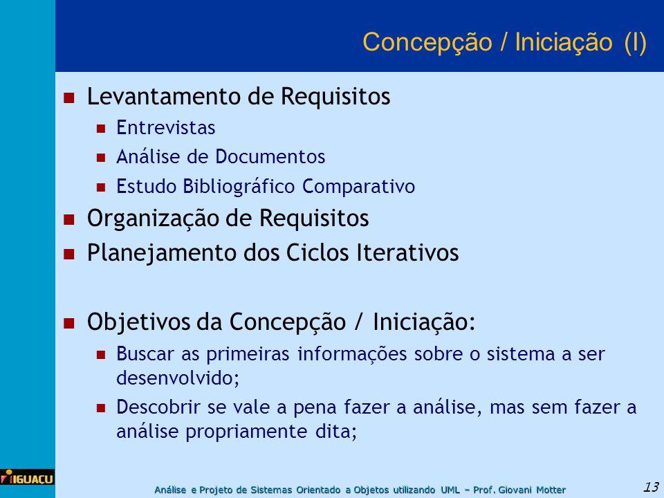 Análise e Projeto de Sistemas Orientado a Objetos utilizando UML – Prof. Giovani Motter 13 Concepção / Iniciação (I) Levantamento de Requisitos Entrev