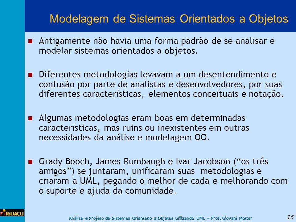 Análise e Projeto de Sistemas Orientado a Objetos utilizando UML – Prof. Giovani Motter 16 Modelagem de Sistemas Orientados a Objetos Antigamente não