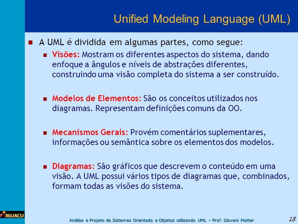 Análise e Projeto de Sistemas Orientado a Objetos utilizando UML – Prof. Giovani Motter 18 Unified Modeling Language (UML) A UML é dividida em algumas