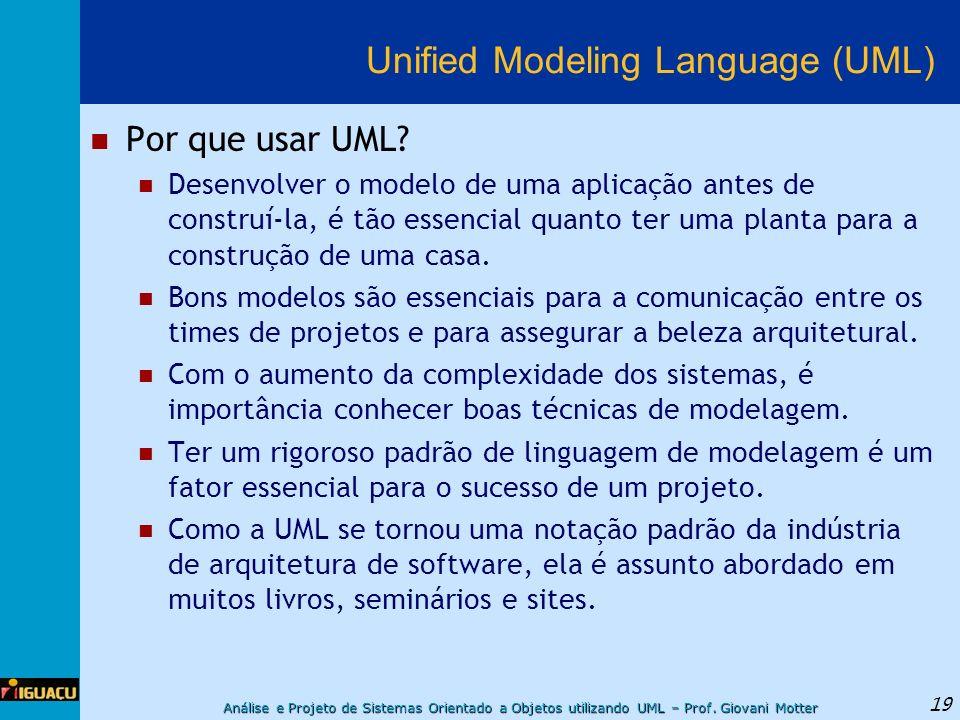 Análise e Projeto de Sistemas Orientado a Objetos utilizando UML – Prof. Giovani Motter 19 Unified Modeling Language (UML) Por que usar UML? Desenvolv