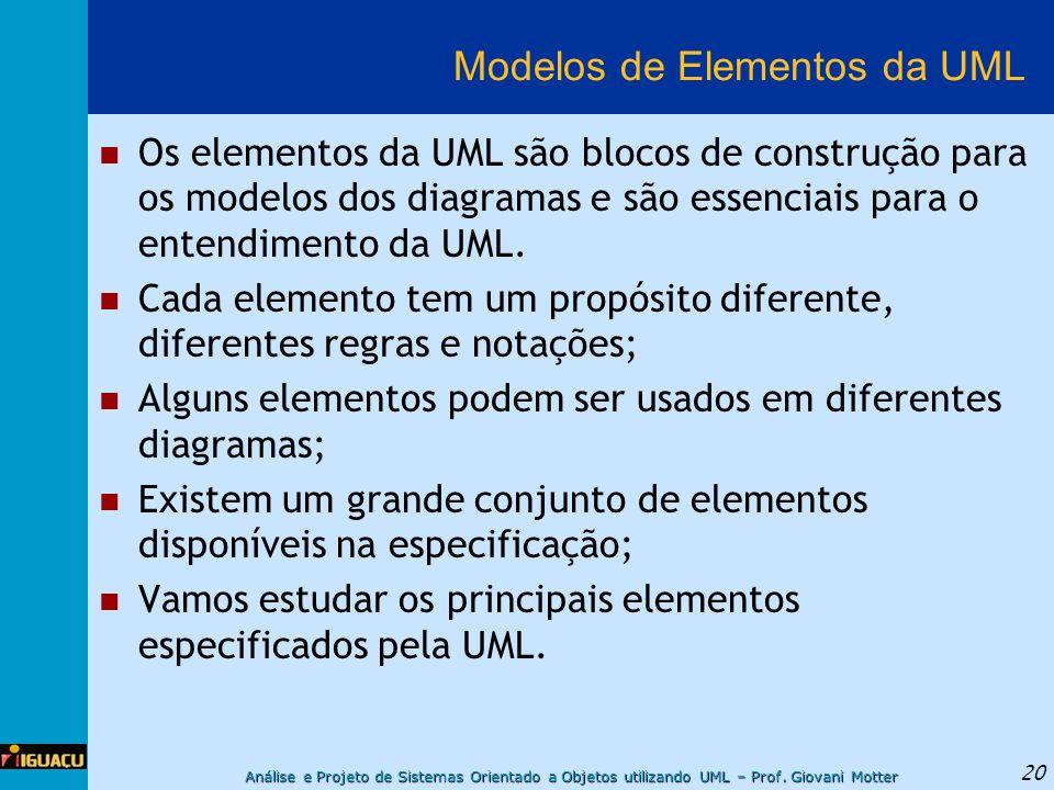 Análise e Projeto de Sistemas Orientado a Objetos utilizando UML – Prof. Giovani Motter 20 Modelos de Elementos da UML Os elementos da UML são blocos