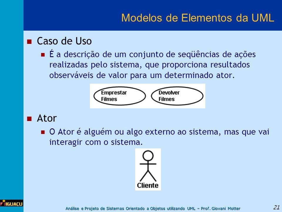 Análise e Projeto de Sistemas Orientado a Objetos utilizando UML – Prof. Giovani Motter 21 Modelos de Elementos da UML Caso de Uso É a descrição de um