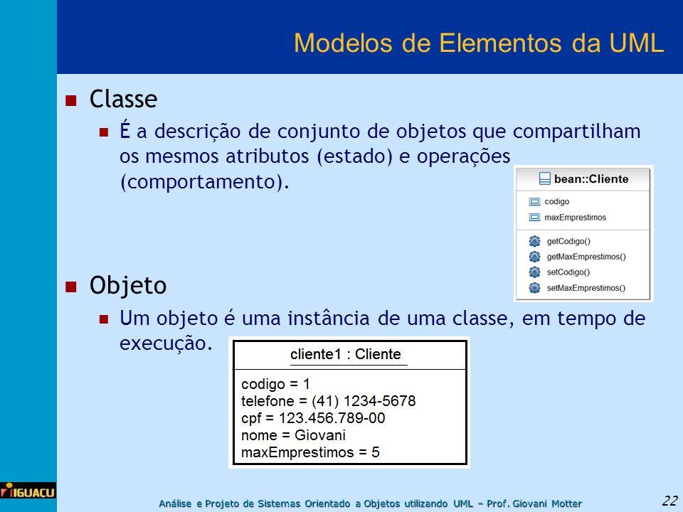 Análise e Projeto de Sistemas Orientado a Objetos utilizando UML – Prof. Giovani Motter 22 Modelos de Elementos da UML Classe É a descrição de conjunt