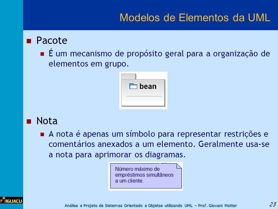 Análise e Projeto de Sistemas Orientado a Objetos utilizando UML – Prof. Giovani Motter 23 Modelos de Elementos da UML Pacote É um mecanismo de propós