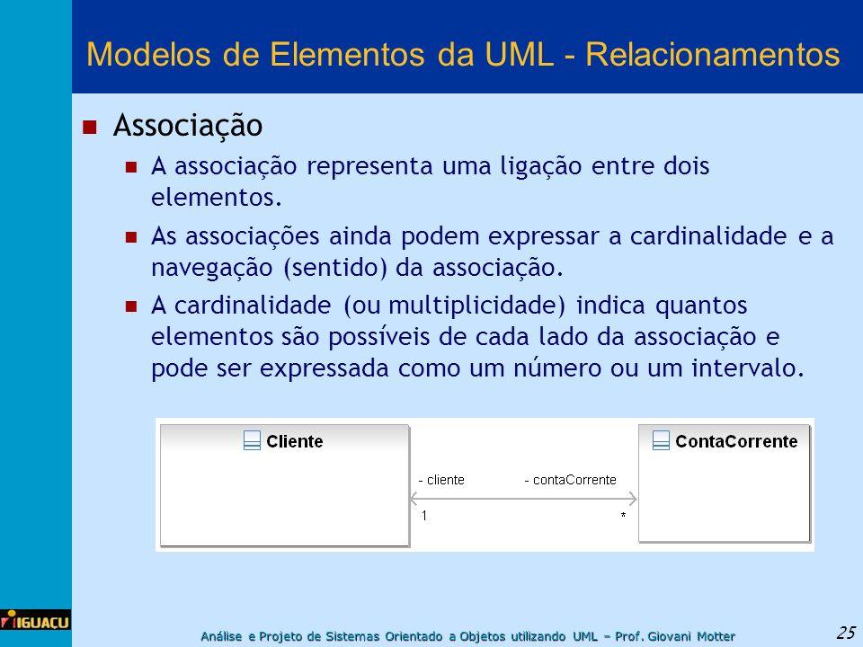 Análise e Projeto de Sistemas Orientado a Objetos utilizando UML – Prof. Giovani Motter 25 Modelos de Elementos da UML - Relacionamentos Associação A
