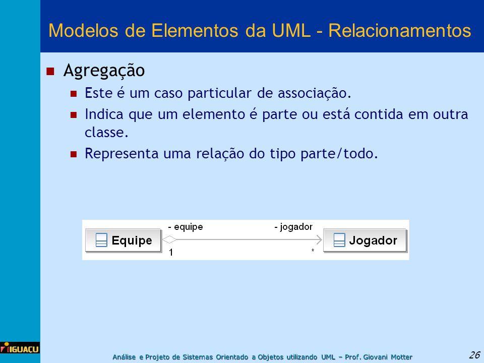 Análise e Projeto de Sistemas Orientado a Objetos utilizando UML – Prof. Giovani Motter 26 Modelos de Elementos da UML - Relacionamentos Agregação Est