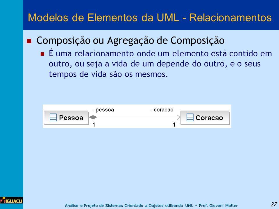 Análise e Projeto de Sistemas Orientado a Objetos utilizando UML – Prof. Giovani Motter 27 Modelos de Elementos da UML - Relacionamentos Composição ou