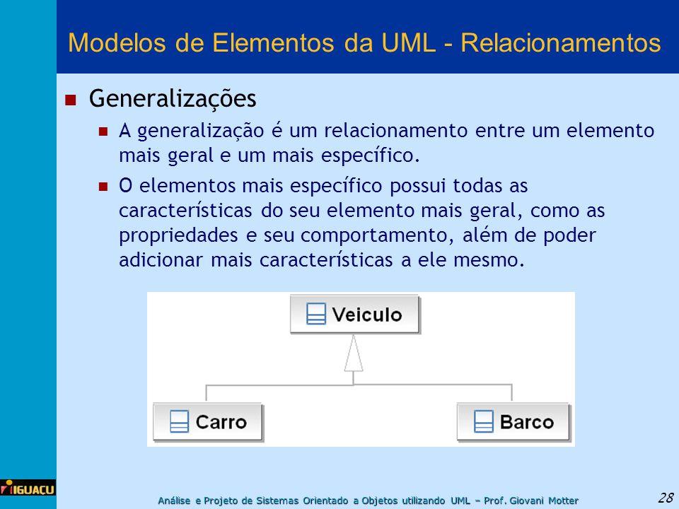 Análise e Projeto de Sistemas Orientado a Objetos utilizando UML – Prof. Giovani Motter 28 Modelos de Elementos da UML - Relacionamentos Generalizaçõe
