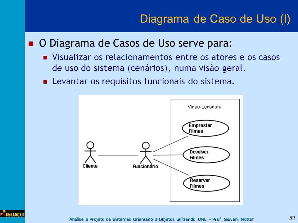 Análise e Projeto de Sistemas Orientado a Objetos utilizando UML – Prof. Giovani Motter 31 Diagrama de Caso de Uso (I) O Diagrama de Casos de Uso serv