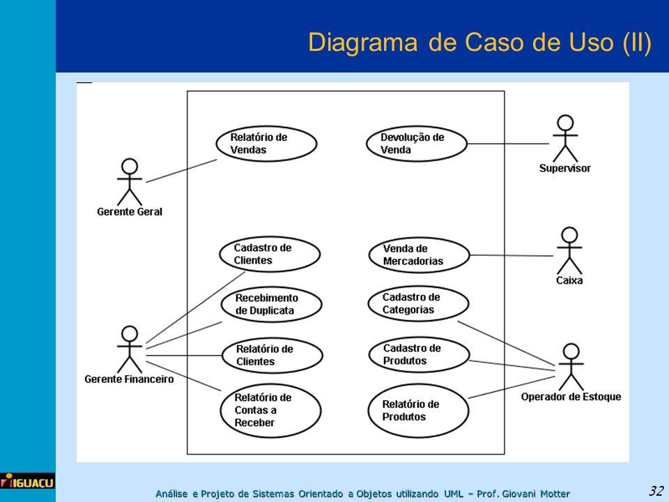 Análise e Projeto de Sistemas Orientado a Objetos utilizando UML – Prof. Giovani Motter 32 Diagrama de Caso de Uso (II)
