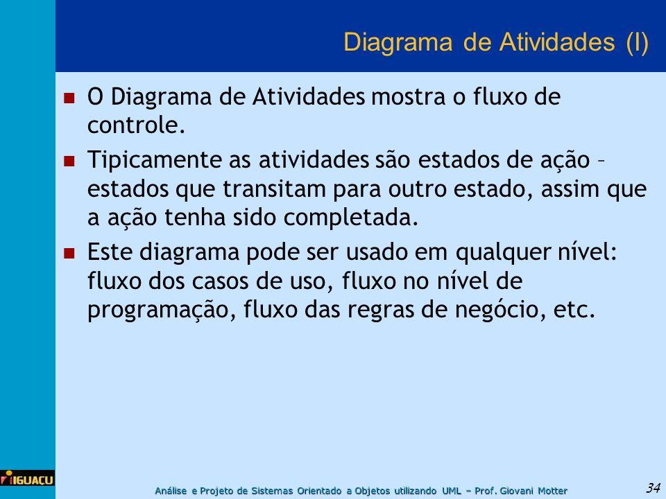 Análise e Projeto de Sistemas Orientado a Objetos utilizando UML – Prof. Giovani Motter 34 Diagrama de Atividades (I) O Diagrama de Atividades mostra