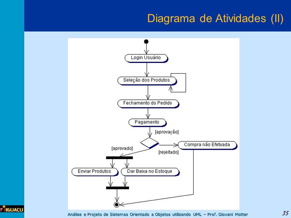 Análise e Projeto de Sistemas Orientado a Objetos utilizando UML – Prof. Giovani Motter 35 Diagrama de Atividades (II)