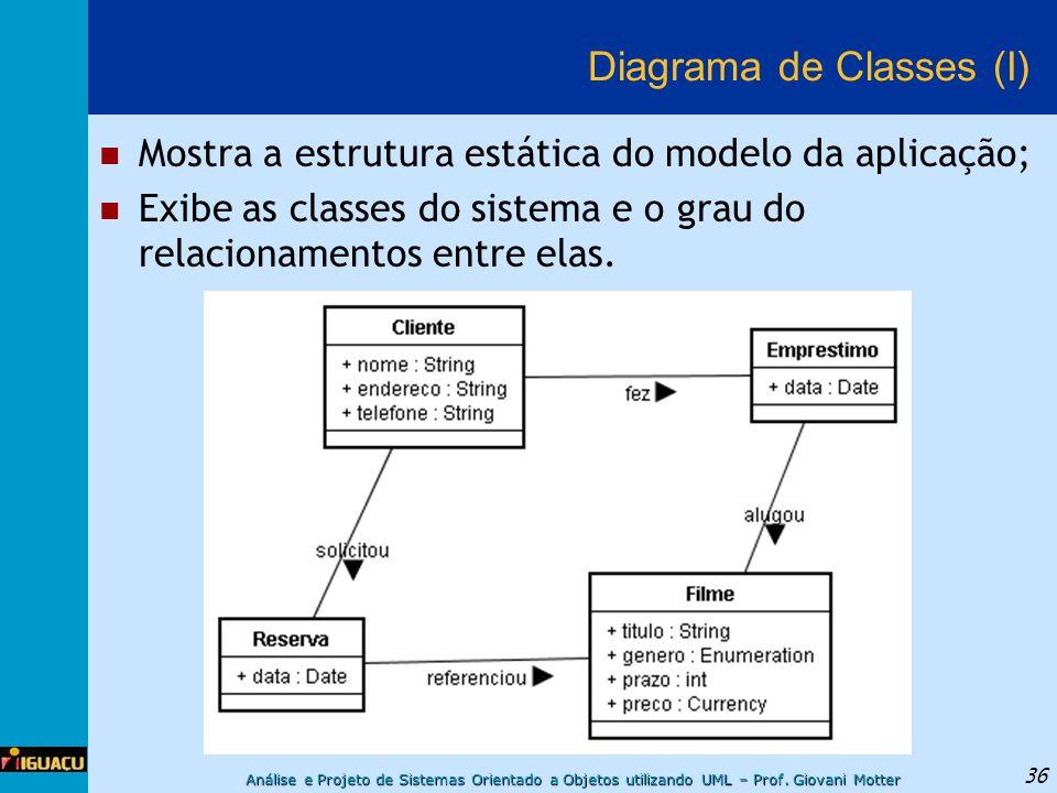 Análise e Projeto de Sistemas Orientado a Objetos utilizando UML – Prof. Giovani Motter 36 Diagrama de Classes (I) Mostra a estrutura estática do mode