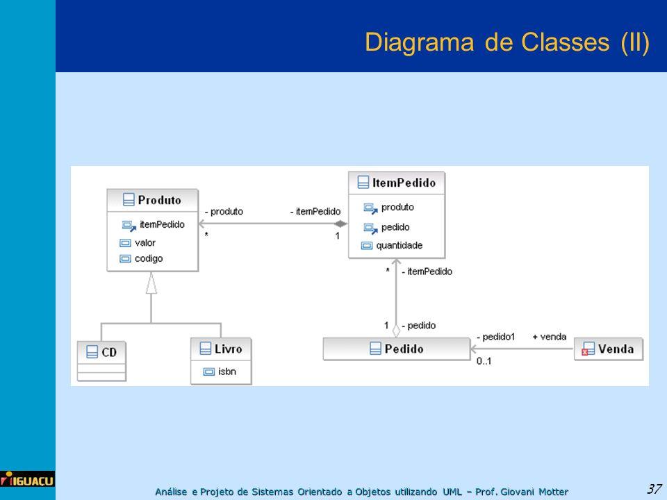 Análise e Projeto de Sistemas Orientado a Objetos utilizando UML – Prof. Giovani Motter 37 Diagrama de Classes (II)