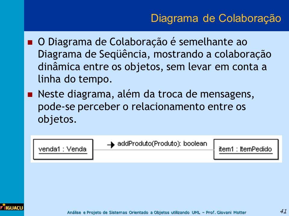 Análise e Projeto de Sistemas Orientado a Objetos utilizando UML – Prof. Giovani Motter 41 Diagrama de Colaboração O Diagrama de Colaboração é semelha