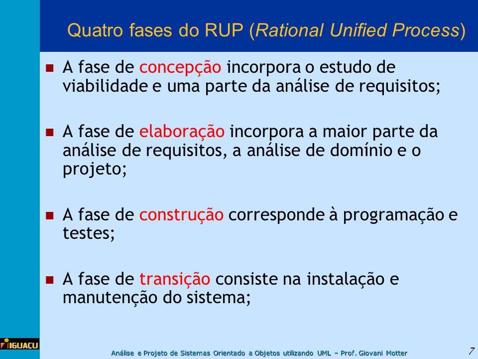 Análise e Projeto de Sistemas Orientado a Objetos utilizando UML – Prof. Giovani Motter 7 Quatro fases do RUP (Rational Unified Process) A fase de con