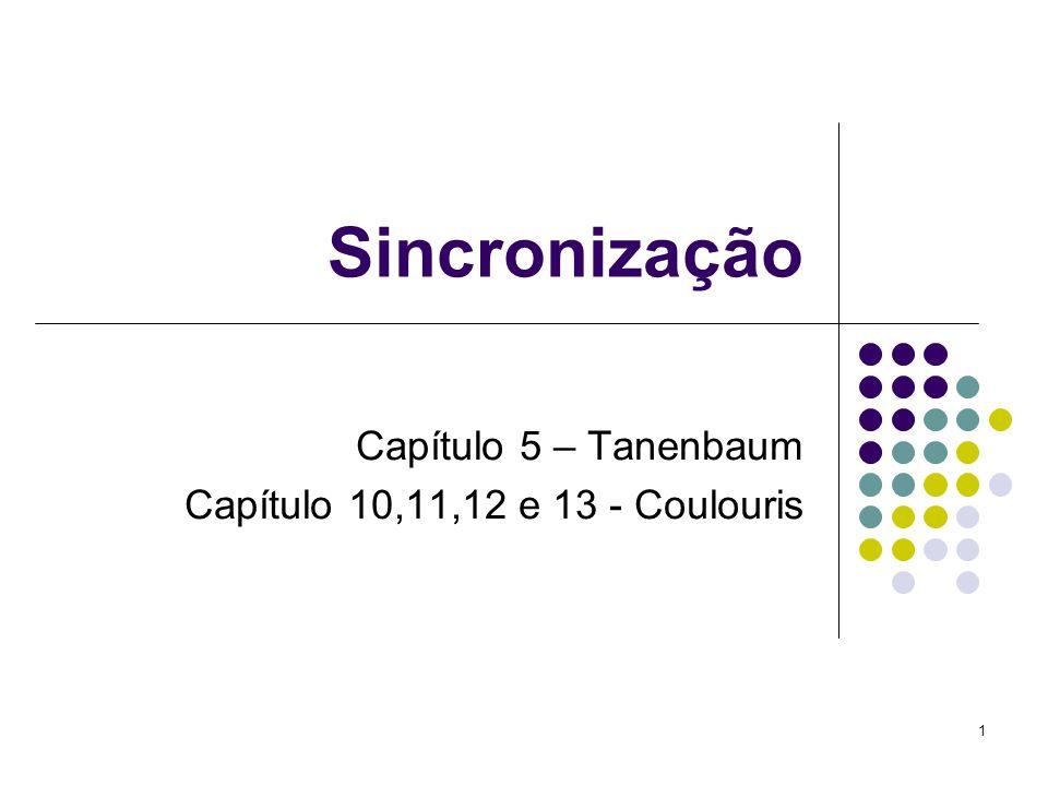 1 Sincronização Capítulo 5 – Tanenbaum Capítulo 10,11,12 e 13 - Coulouris