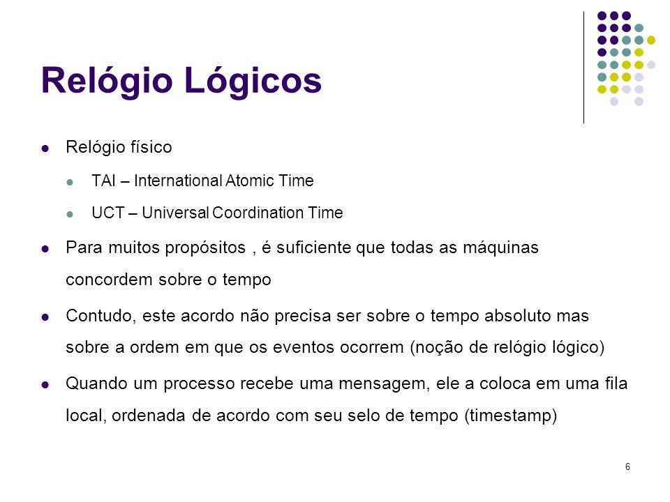 6 Relógio Lógicos Relógio físico TAI – International Atomic Time UCT – Universal Coordination Time Para muitos propósitos, é suficiente que todas as m